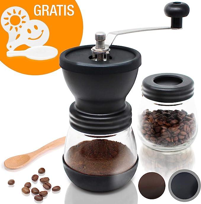 Kaffeemühle mit Metall-Mahlwerk Kurbel und Aroma-Behälter Mühle Keramikmühle