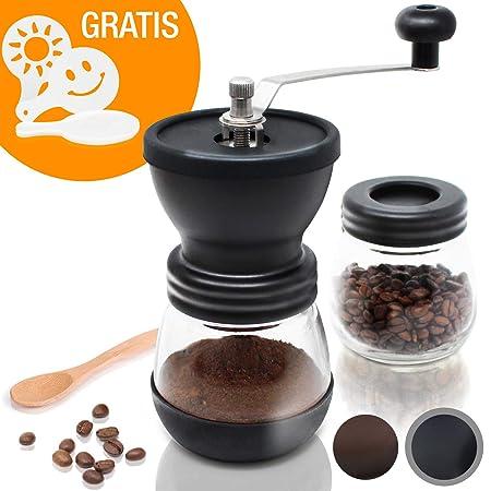 Amazy Molinillo de Cafe Manual / Molinillo de Ceramica para disfrutar del mejor café recién molido (Negro)