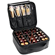 VASKER Makeup Case Travel Makeup Bags Organizer for Women Professional Leather Cosmetic Bag Train Case Box Storage Portable Brush Holder with Adjustable Divider Gift for Women