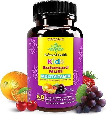 Balanced Health Kids Balanced Multi - 30 Servings, 60 ct Gummy, Fruit Flavor, Daily Organic Vegetarian Multivitamin Gummy for Children Essential Vitamins A, B, C, D, E, and Zinc