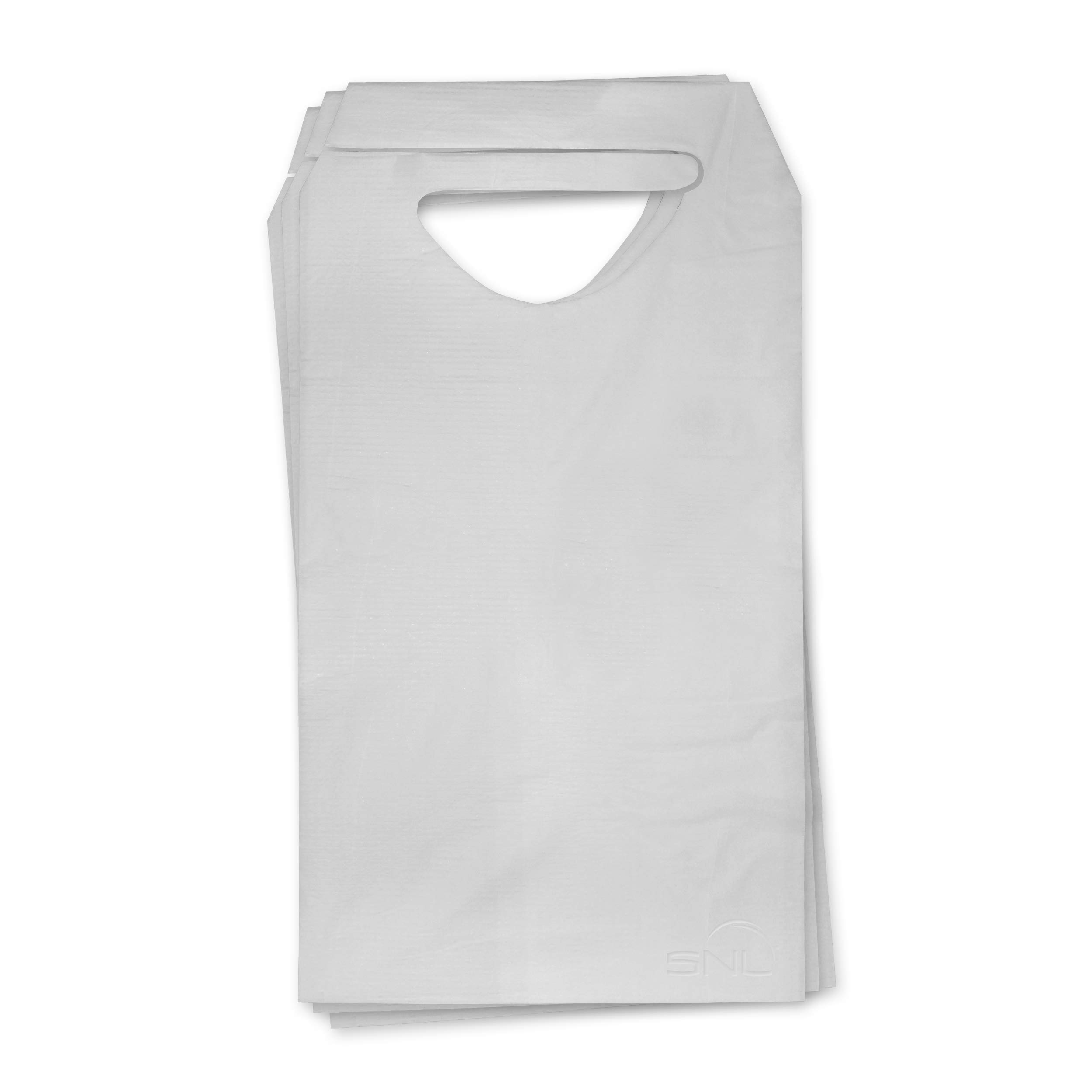 SNL Quality Disposable Adult Poly-Lined Bibs - 16'' X 33'' - Tie-Back (Pack of 300)