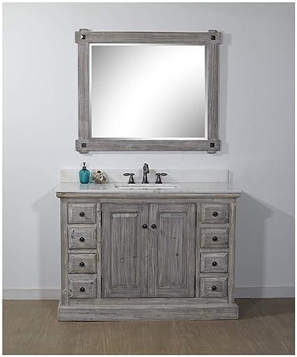 Infurniture Wk1848 G Ap Top Single Sink Bathroom Vanity Gray