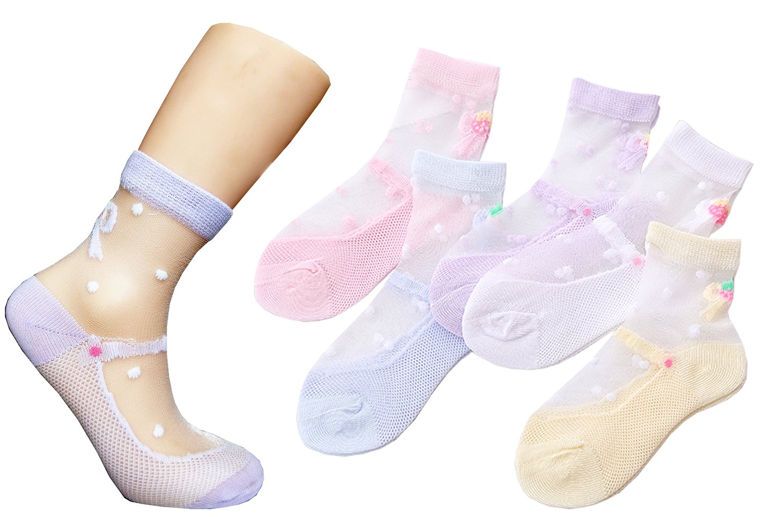 Searchself Little Girls' Cotton Lace Transparent Thin Socks (Pack of 5) (6-8 Years, Bowknot)