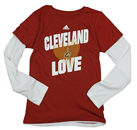 adidas Performance Cleveland Cavaliers NBA Grandes niñas Manga Larga Layered T – Camiseta, Vino Grande