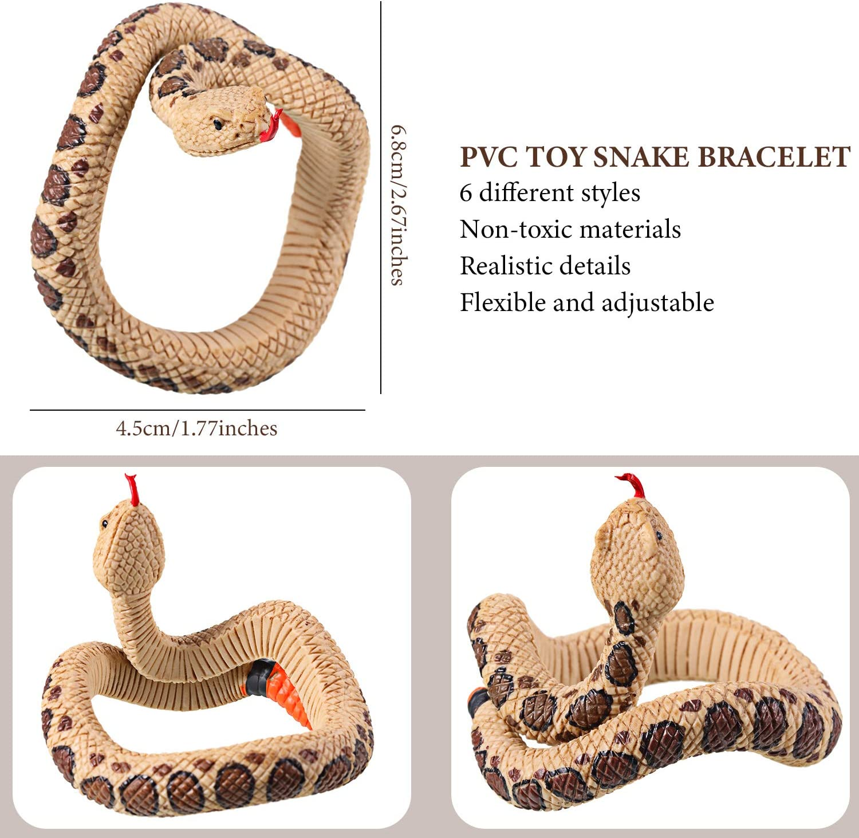 6 Pieces Toy Snake Bracelet PVC Simulation Snake Wrist Band Fake Snake Wristband Halloween Prank Toys Scary Mischievous Toys Party Supplies Realistic Snake Bracelet for Adults Teens