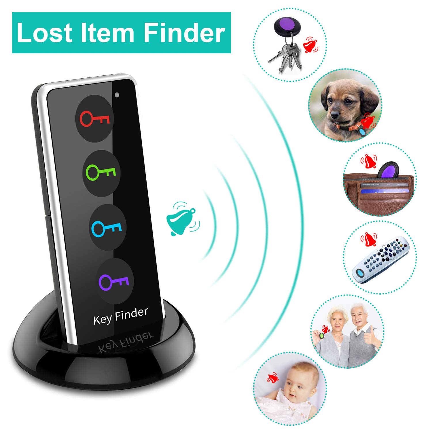 Key Pets Finder Tracker,ldcx Wireless RF Item Locator Anti Lost Keys Finder Tag Alarm Reminder,1 RF Transmitter 4 Receivers,Phone Pet Cat Dog Keychain Wallet Luggage Tracking Remote Finders