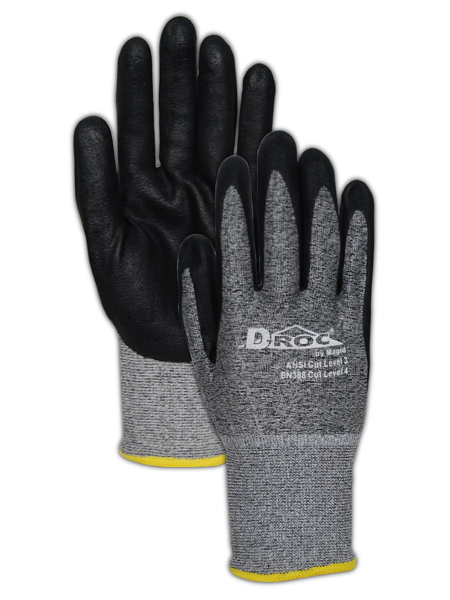 Magid Glove & Safety GPD583-12 D-ROC GPD583 18-Gauge HPPE Blend Micro-Foam Nitrile Palm - Cut Level 3, ANSI Abrasion 4, Blended Micro-Foam Nitrile, Size 10, Black/Grey (12 Pairs)