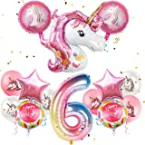"MOVINPE Unicorn Balloons Birthday Party Decorations for Girls 6th Party, 43"" Pink Large Unicorn Gradient Jumbo Number""6…"