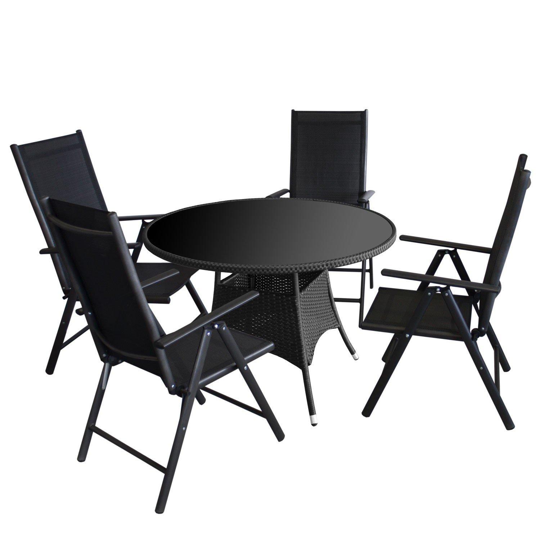 Sitzgarnitur Rattantisch mit schwarzer Tischglasplatte Ø105x73cm + 4x Aluminium Hochlehner mit komfortabler Textilenbespannung, Rückenlehne 7-fach verstellbar - Gartenmöbel Gartengarnitur Bistro Balkonmöbel Set
