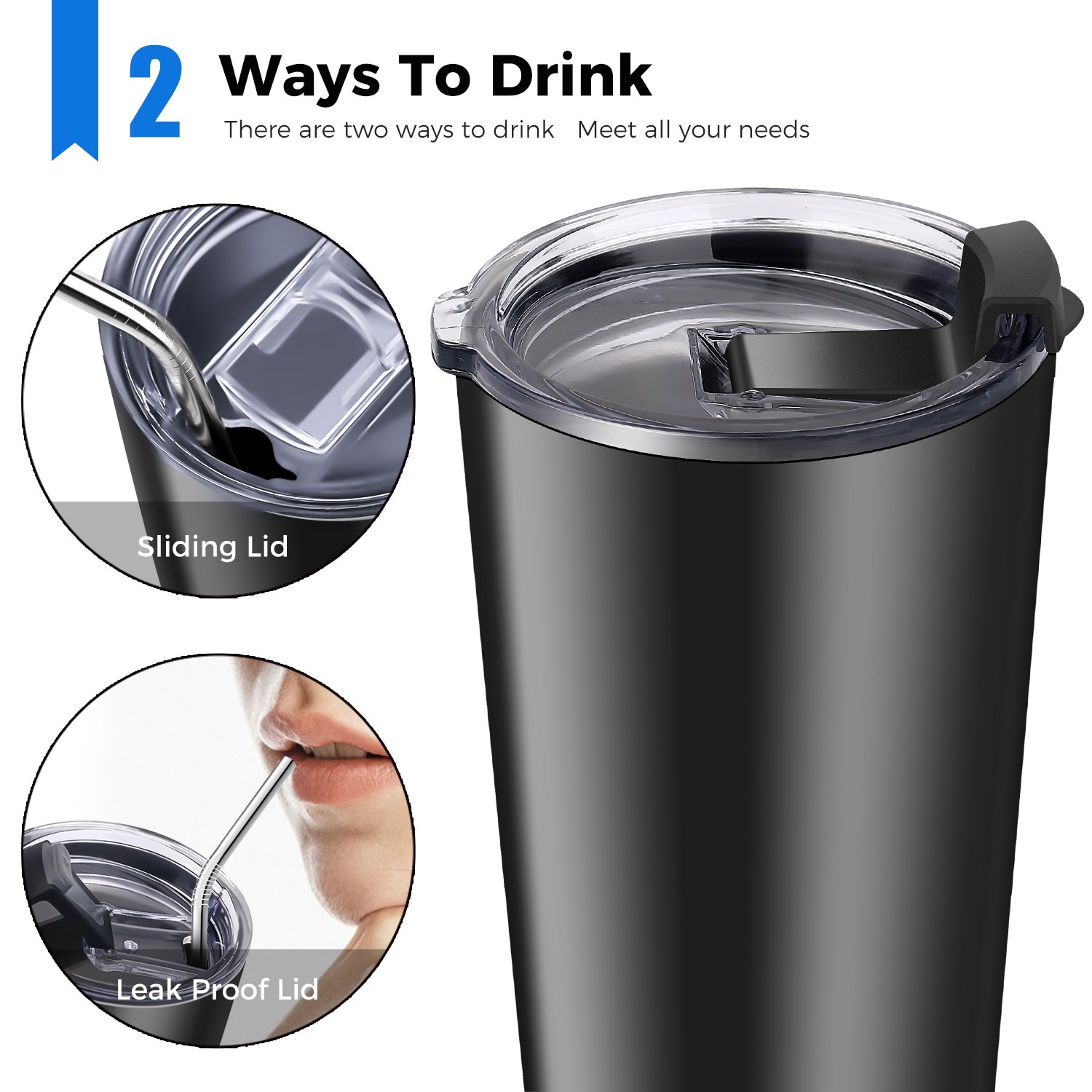 YH Black YAHEY Insulated Tumbler 20 Oz 18//8 Stainless Steel Travel Mug Keep Hot or Cold for Hours BPA Free Double Wall Vacuum Insulated Coffee Thermos with 2 Lids /& Reusable Straws
