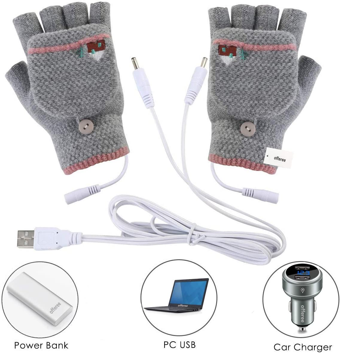 Offeree USB Heated Gloves Mitten for Women Men Half Hands Warm Laptop Gloves with Double-Sided Heating for Indoor or Outdoor Winter Usb Powered Knitting Hands Warmer Grey02
