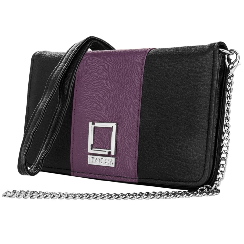 Crossbody Black / Purple Clutch for HTC Phones by BestPriceCenter