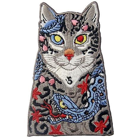 Parche termoadhesivo para la ropa, diseño de Gatos con tatuaje de serpiente y hojas