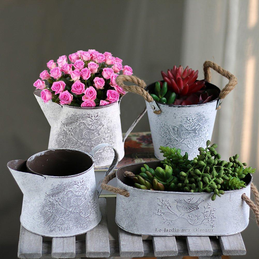 Sue Supply Maceta de hierro de metal con asas de cuerda de cáñamo para flores y jardín, contenedor de madera con ventosas para decoración de jardín, balcón, ...