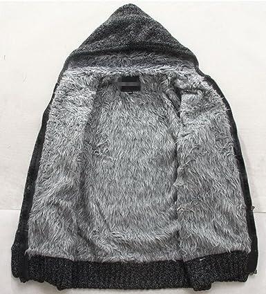 Wintie Men's Warm Fur Lined Zip up Knitted Cardigan Sweater