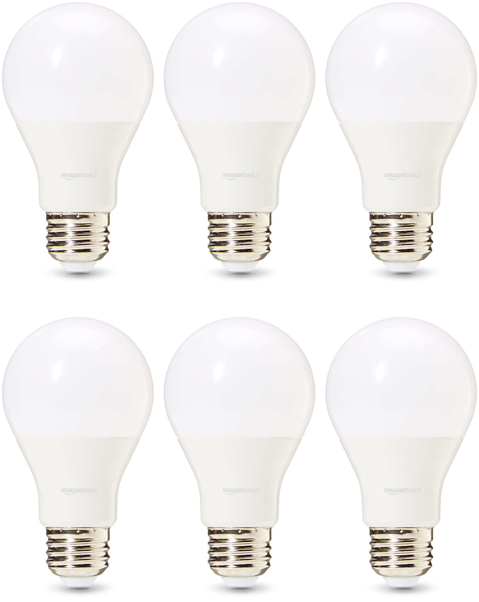 AmazonBasics 75 Watt 25,000 Hours Dimmable 1100 Lumens LED Light Bulb - Pack of 6, Daylight