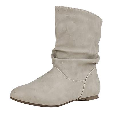 napoli-fashion Flache Damen Stiefeletten Wildleder-Optik Boots  Schlupfstiefel Damen Stiefeletten Creme 36 Jennika a1a1773ef8