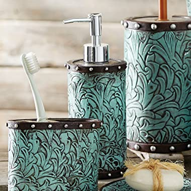 Black Forest Decor Tooled Turquoise Flowers Lotion Dispenser