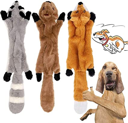 Dog Squeaky Chew Toys No Stuffing Dog Toys Plush Animal Dog Toys for Small Medium Dog 2 Pack