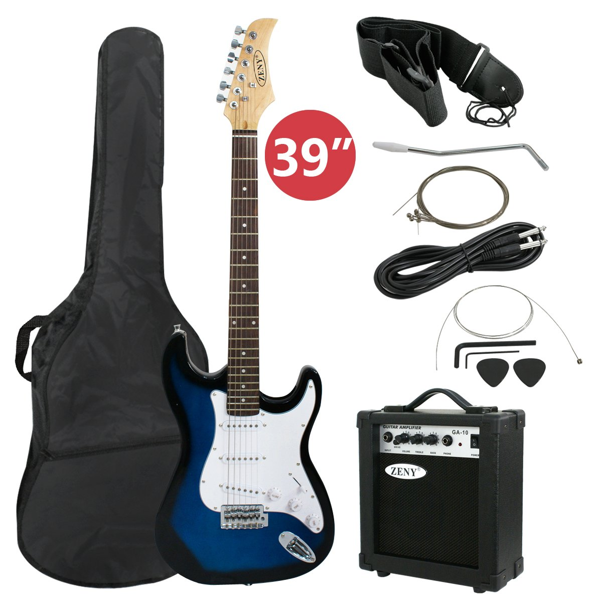 ZENY 39'' Full Size Electric Guitar with Amp, Case and Accessories Pack Beginner Starter Package, Blue Ideal Christmas Thanksgiving Holiday Gift by ZENY