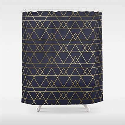 Image Unavailable Not Available For Color Huisfa Modern Gold Navy Blue Shower Curtain