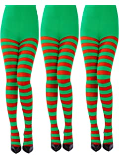 NEW WOMENS LADIES RED AND GREEN STRIPE THIGH HIGH OVER KNEE SOCKS FANCY DRESS