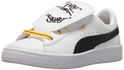 123bf0fbc4d2 PUMA Unisex Basket Tongue Sneaker White Black-Minion Yellow