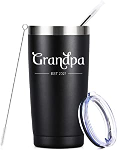 Grandpa Est. 2021 - 20 oz Insulated Grandpa Tumbler Cup, First Time Grandpa Gifts Ideas, Baby Pregnancy Announcement Gift for New Grandfather, Fathers Day Birthday Gifts for Grandpa to Be, Black
