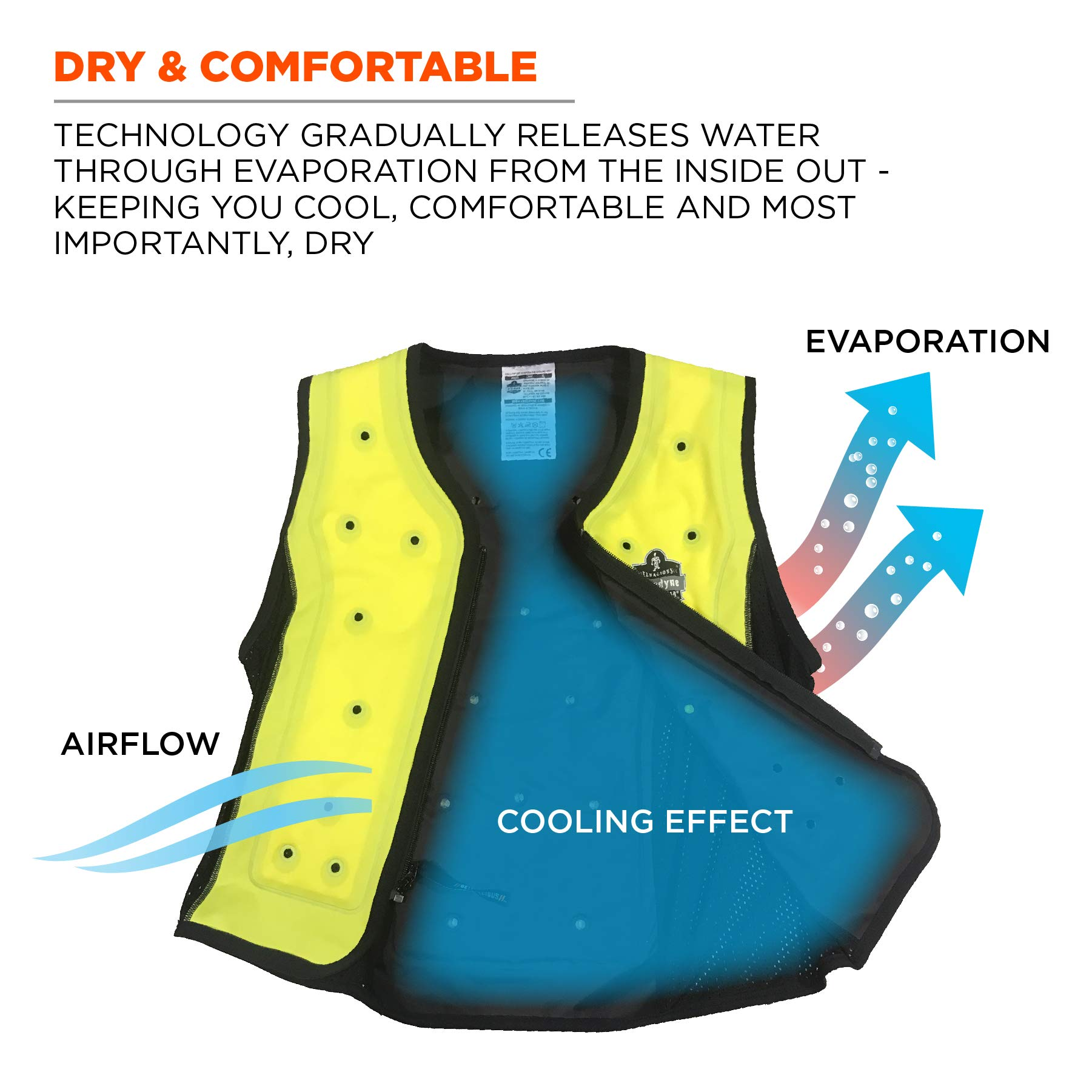 Evaporative Cooling Vest, Wearer Stays Cool and Dry, Breathable Comfort, Zipper Closure, Ergodyne Chill-Its 6685 by Ergodyne (Image #4)