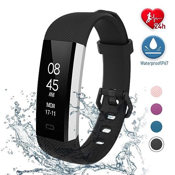 Fitpolo Pulsera Inteligente, Reloj inteligente con monitor de ritmo cardíaco, podómetro impermeable IP67 monitor de sueño contador de pasos para niños ...