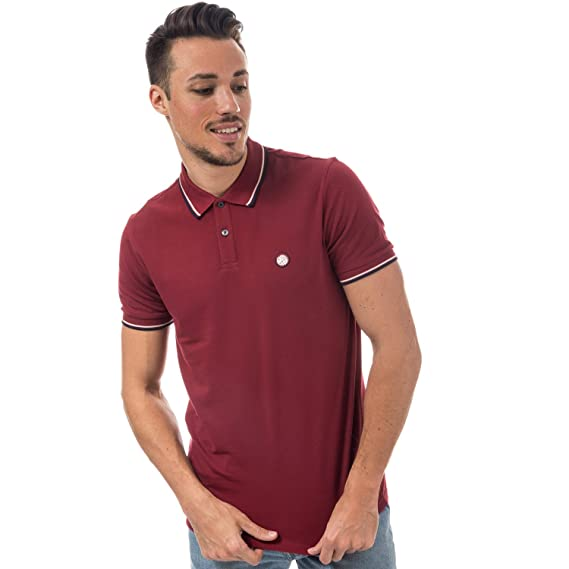 eab508e570b172 Pretty Green Mens Mens Tipped Pique Polo Shirt in Red - S: Pretty Green:  Amazon.co.uk: Clothing
