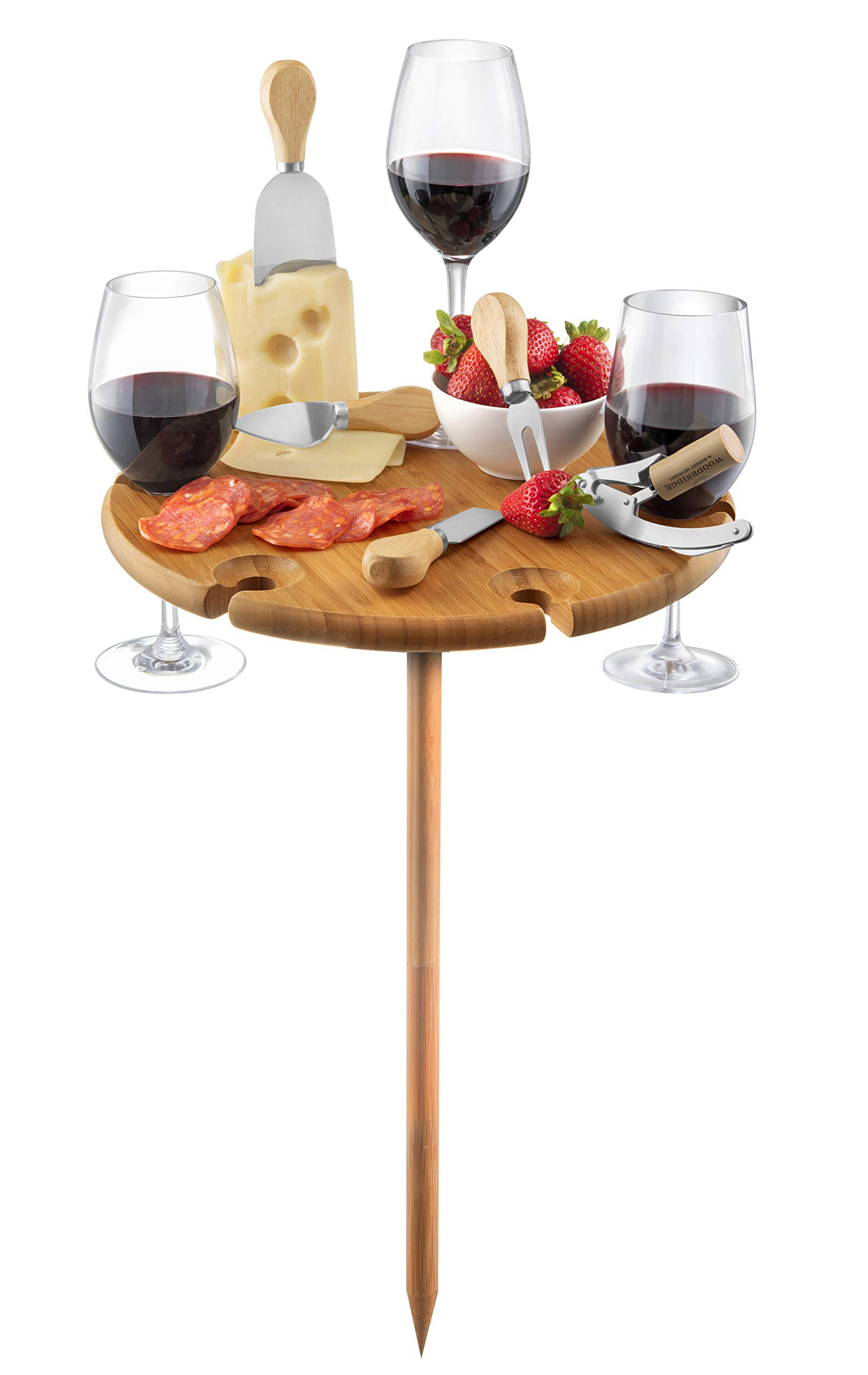 Bamboo Outdoor Wine Table with Cutlery - Picnic Tray Beach Wood Table for Camping and Entertaining | Includes 4 Utensils, Cork Opener, Glass Holders for Cheese and Meat