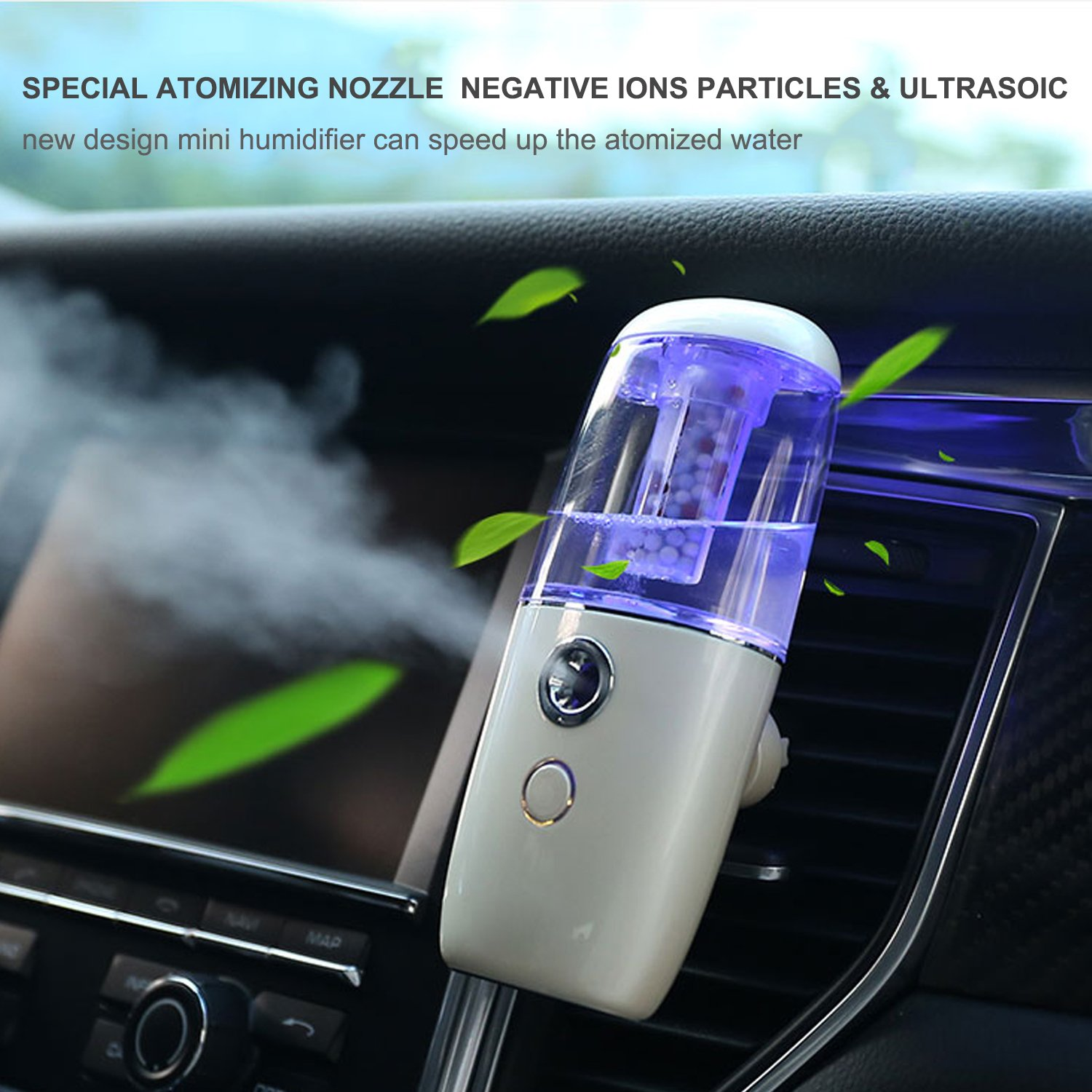 JMKMGL Portable USB Air Humidifier, mini ultrasonic humidifier with Clip for Car air outlet,Essential Aroma Oil Diffusers With Negative Ions Particles,White