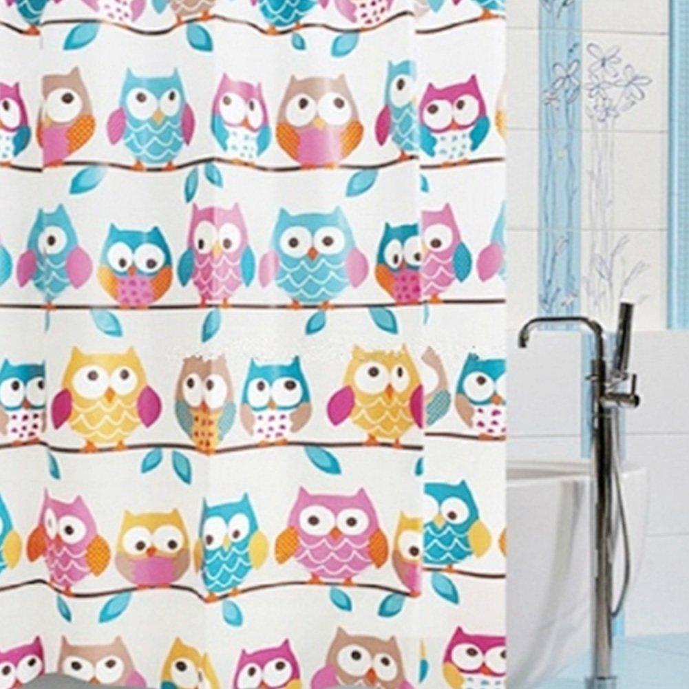 Amazon.com: Kids Bathroom Shower Owl Family Colorful Cartoon ...