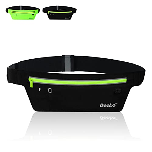 Becko Lightweight & Durable Waterproof Bag / Running Belts / Runners Belt / Race Belt - Fitness Workout Belt for Both Men and Women - Fit for iPhone, HTC, Samsung, Motorola, BlackBerry and Most Smartphones - Waist Pack Belt / Runners Belt Waist Pouch / Sport Running Waist Bag / Runner's Waist Pack Protects items during Workouts, Cycling, Hiking, Walking, Running, Sports, Leisure and All Outdoor Activities (ultra-thin / Black)
