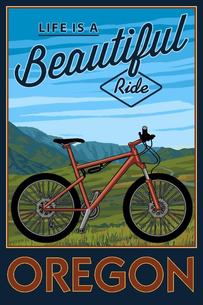 オレゴン – Life Is A Beautiful Ride – Mountain Bikeシーン 36 x 54 Giclee Print LANT-77704-36x54 B01MDPYZ2S  36 x 54 Giclee Print