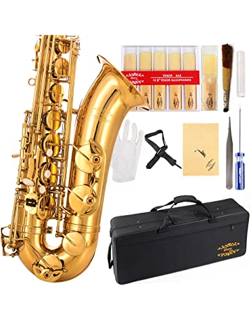 Glory Gold Laquer B Flat Tenor Saxophone with Case,10pc Reeds,Mouth Piece,