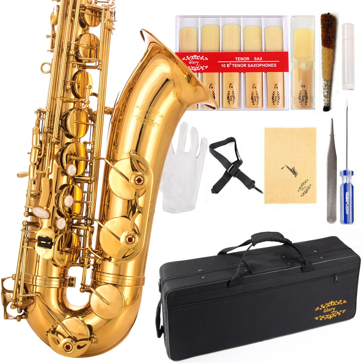 Glory Gold Laquer B Flat Tenor Saxophone with Case,10pc Reeds,Mouth Piece,Screw Driver,Nipper. A pair of gloves, Soft Cleaning Cloth. by GLORY