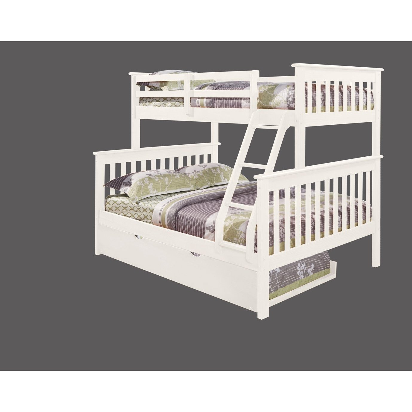 Amazon.com: Bunk Bed Twin over Full Mission Style with Trundle in ...