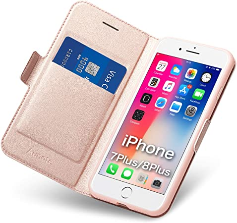 Cover per iPhone 7 Plus/8 Plus, Flip Custodia Pelle, PU TPU Silicone Morbida Antiurto - Completa Protezione. Custodie Cellulari - Portafoglio con ...