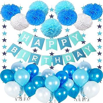 Mmtx Geburtstagsdeko Junge 1 Jahr Junge Geburtstag Deko Ballon Mit Happy Birthday Girlande Blau Wimpelgirlande Luftballons Blau Und Pompoms Für Baby