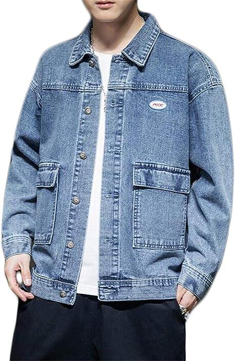 JIANGWEI デニムジャケット 長袖 アウター ヴィンテージ デニムコート お洒落 ストリート 原宿風 Gジャン ブルゾン ゆったり 大きいサイズ