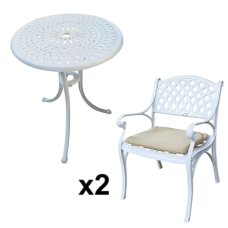 Details Zu Lazy Susan U2013 EVE 60 Cm Bistrotisch Mit 2 Stühlen U2013 Rundes  Gartenmöbel Set Aus Metall, Weiß (KATE Stühle, Beige Kissen)