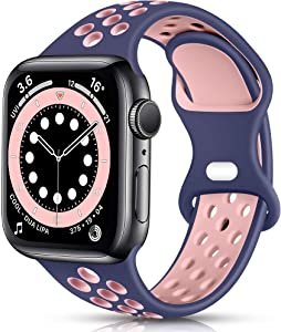 Osber Sport Band Compatible with Apple Watch 38mm 40mm Women Men, Breathable Silicone Replacement Wristband for iWatch SE Series 1/2/3/4/5/6, Blue/Pink, Small