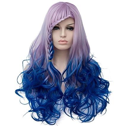 Peluca sintética completa Priomix de pelo largo rizado para mujer, color arcoí