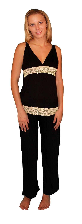 Nursing Multi Color Maternity Pajama Clip on Black Lace Sleeveless
