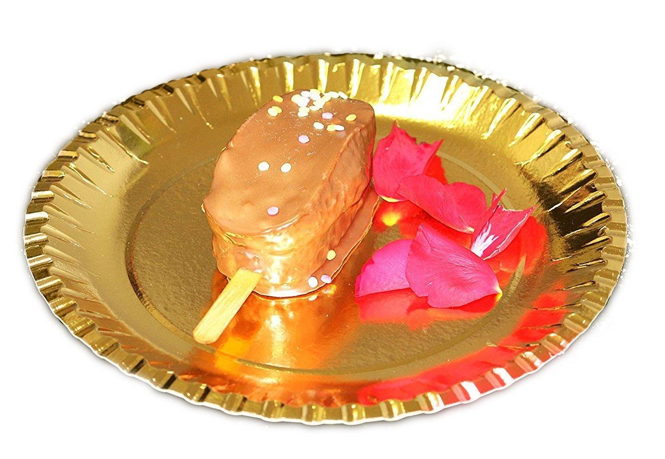 Edler Dorado extra estable Platos de papel (Oro redondo Diámetro 23 cm platos desechables desechables Plato desechables para boda Party Grill fijo ...