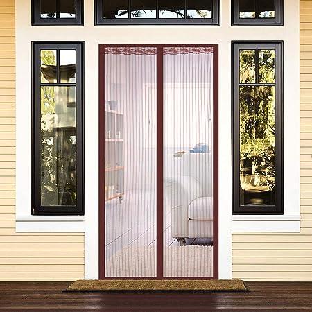 ZXPYN Mosquitera Mosquitera para Puerta Sellar automáticamente Mantener Aire Fresco para Puertas Correderas/Balcones/Terraza - Brown 78.6×86.5inch(200x220cm): Amazon.es: Hogar