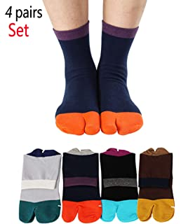 70bcc333b Men s Tabi Socks Flip Flop Split Toe Big Toe Cotton Crew Grip Athletic 4  Pack