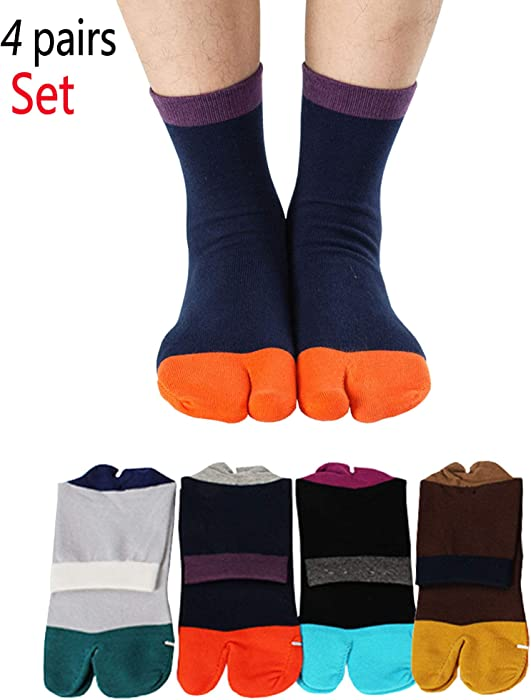 2463fa72c995 Men s Tabi Socks Flip Flop Split Toe Big Toe Cotton Crew Grip Athletic 4  Pack at Amazon Men s Clothing store